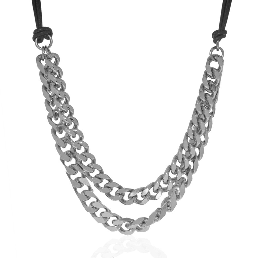 Rhodium Chain Black Leather Necklace