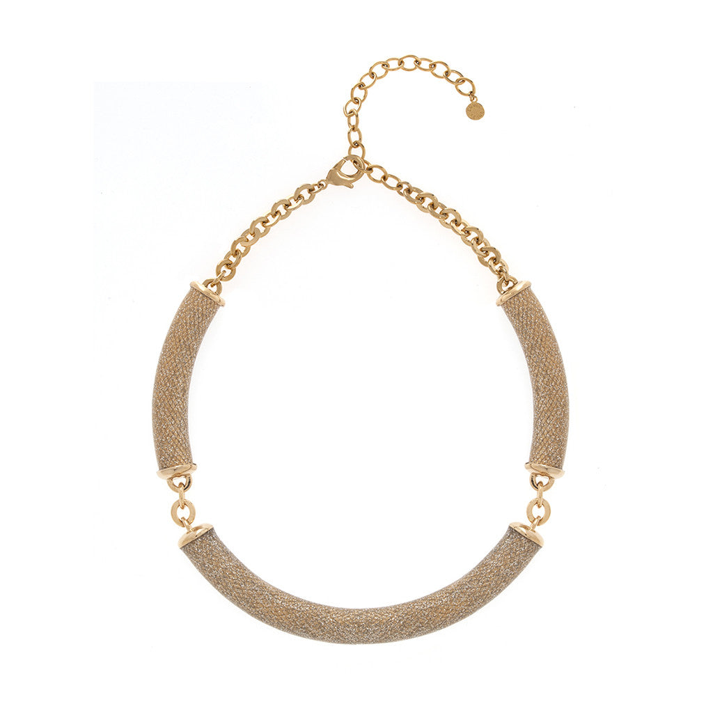 Gold Tone Stardust Snakeskin Necklace