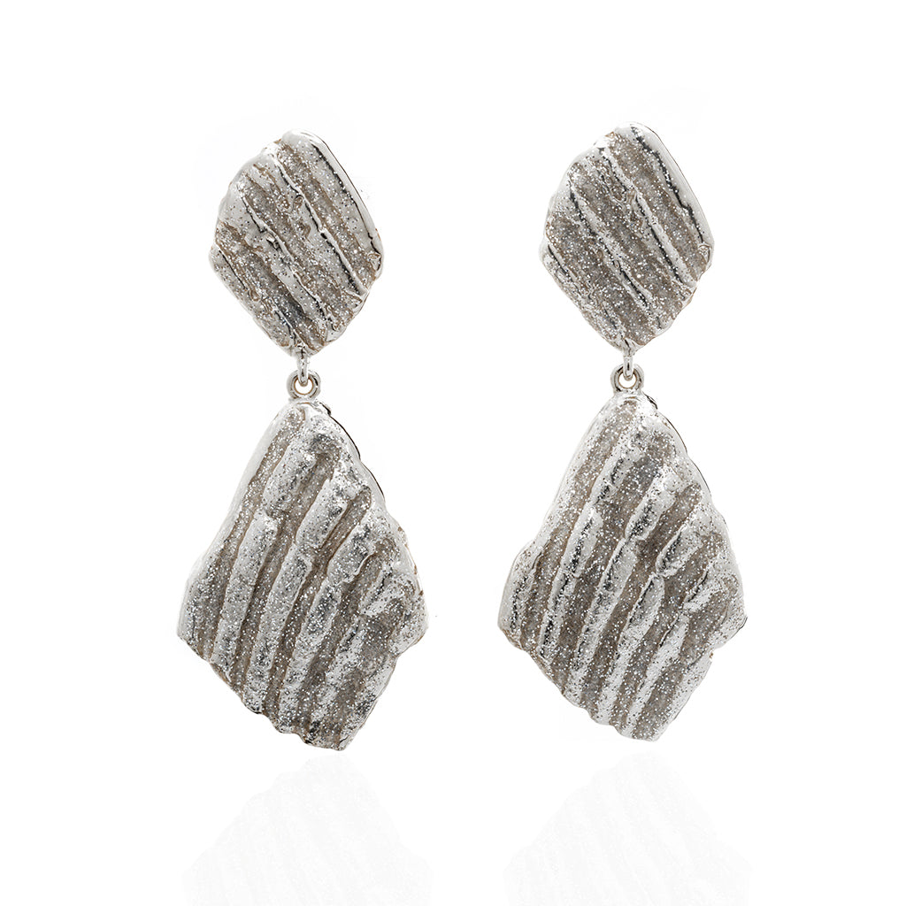 Large Ridged Shell Drop Earring Silvertone Stardust