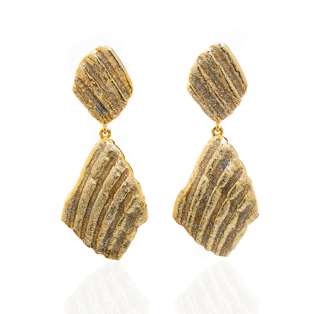 Large Ridged Shell Drop Earring Goldtone Stardust