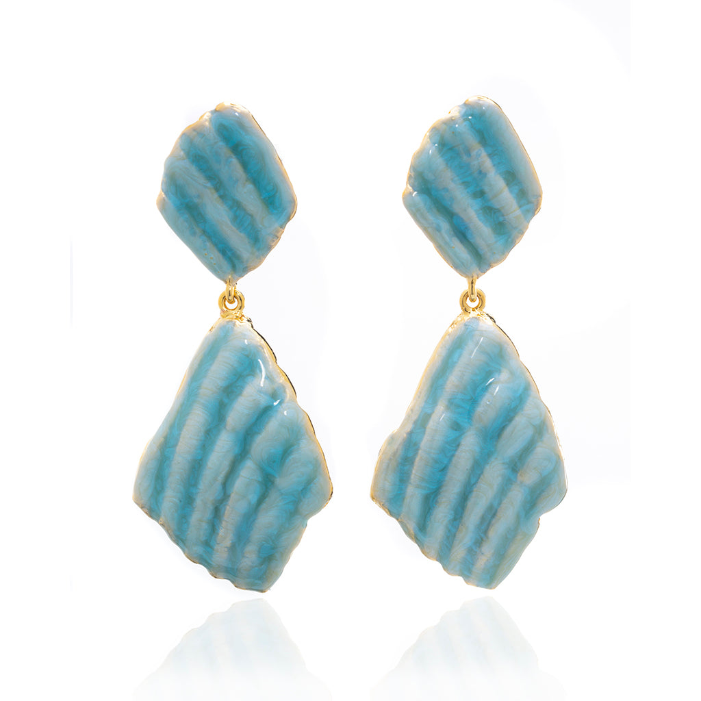 Large Ridged Shell Drop Earring Goldtone Ocean Blue