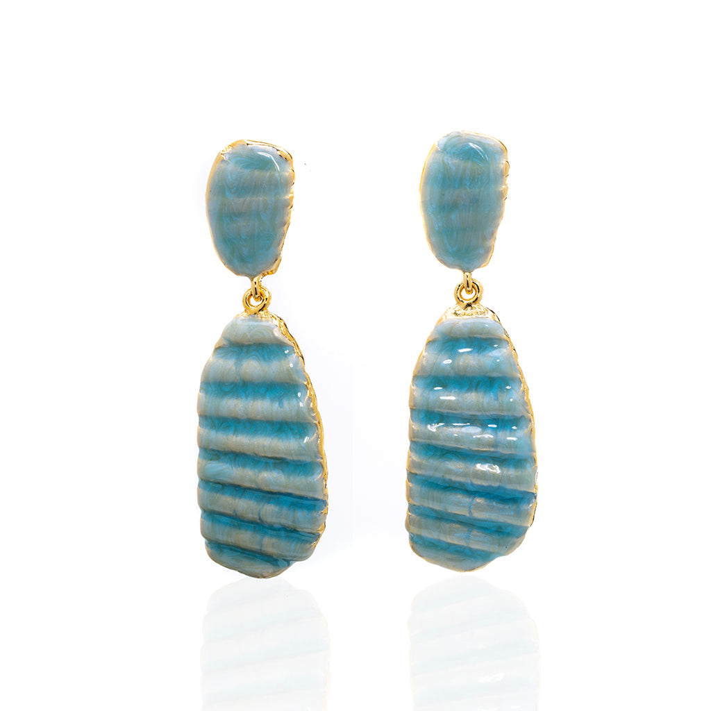Medium Ridged Shell Drop Oval Earring Ocean Blue
