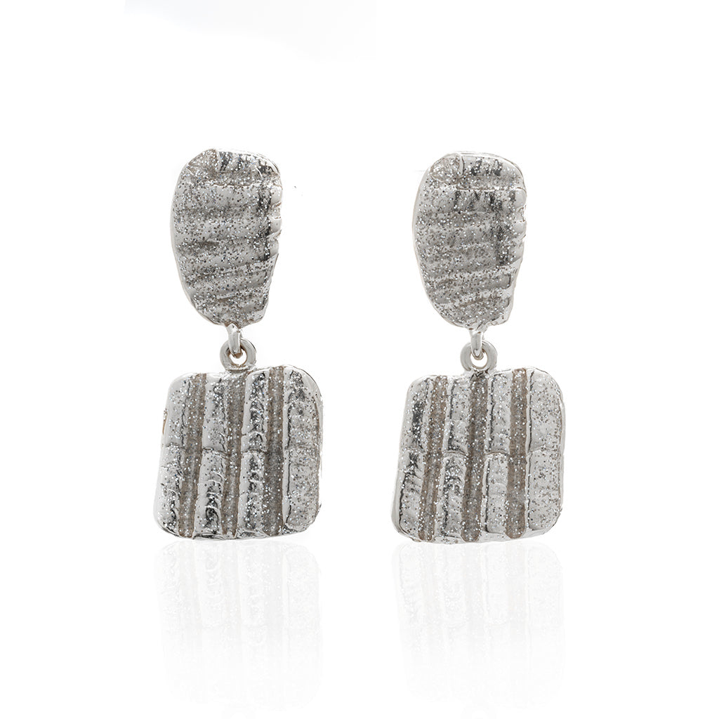 Square Shell Drop  Earring Silver Stardust