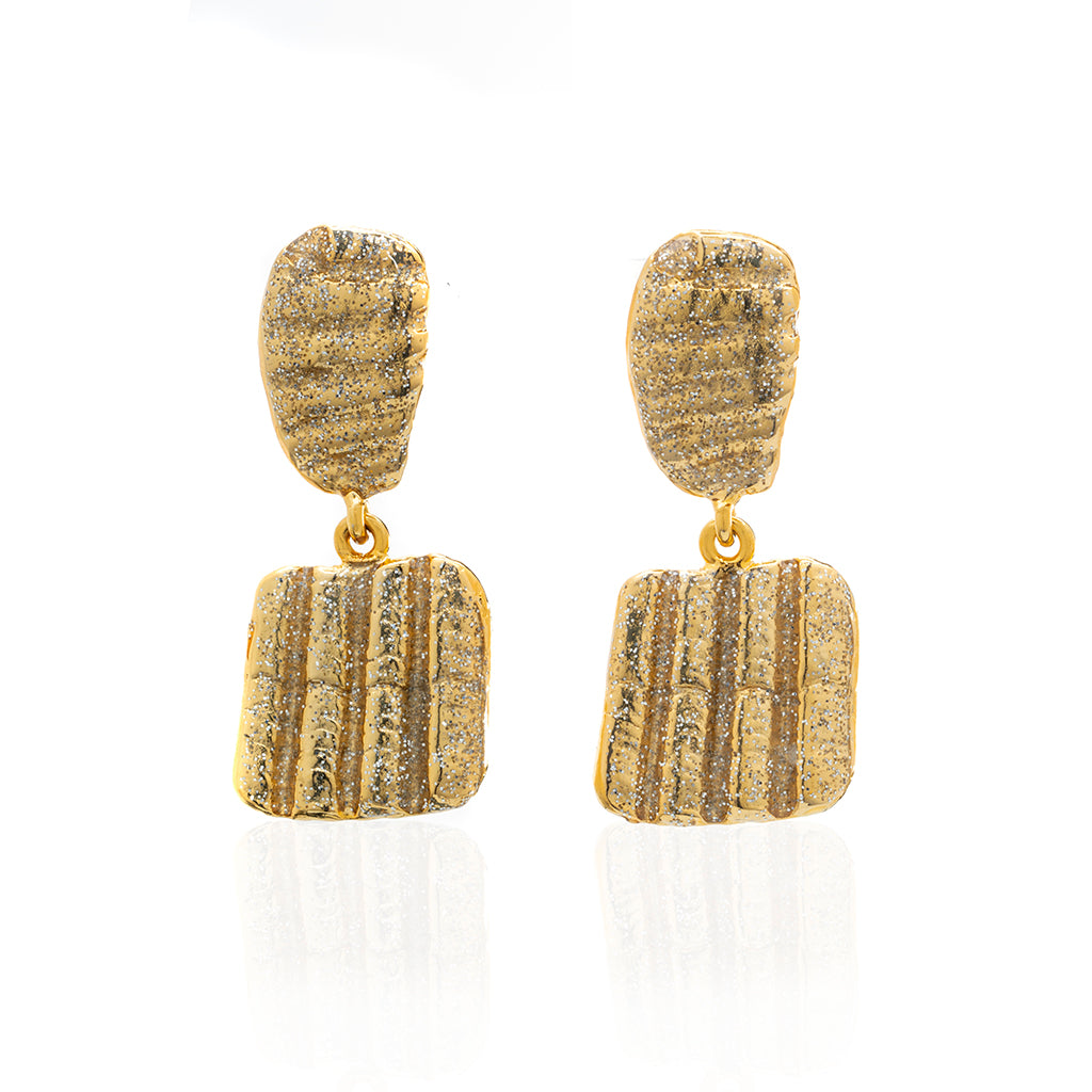 Square Shell Drop  Earring Gold Stardust