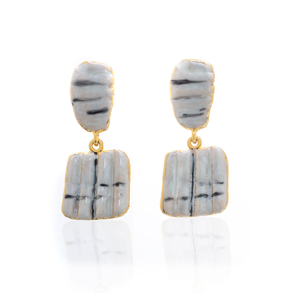 Square Shell Drop  Earring Beige