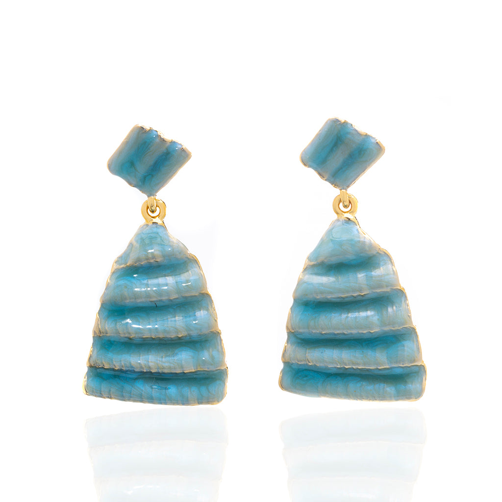 Ridged Shell Drop Triangular Earring Ocean Blue