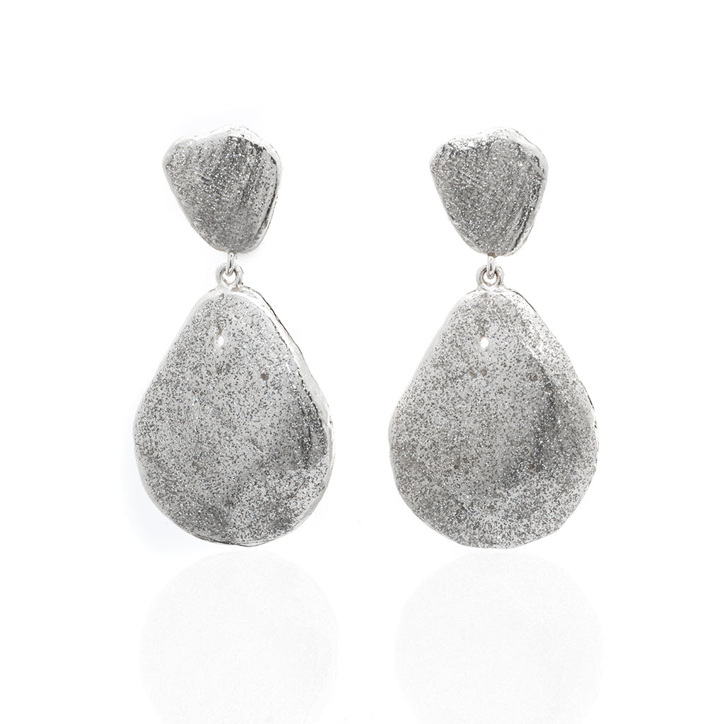 Large Teardrop Shell Earring Silver Stardust