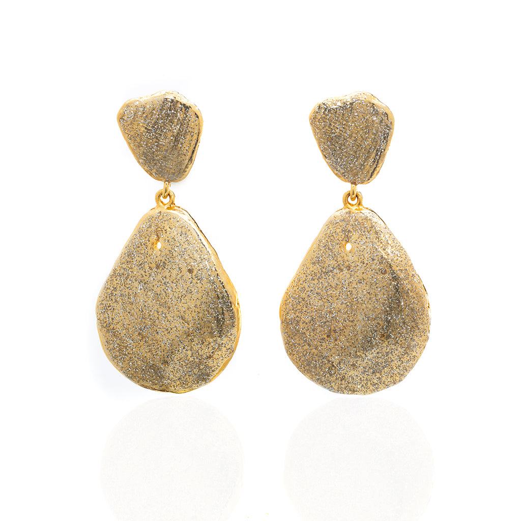 Large Teardrop Shell Earring Gold Stardust