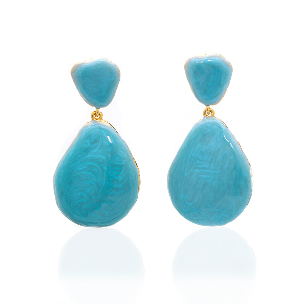 Large Teardrop Shell Earring Ocean Blue