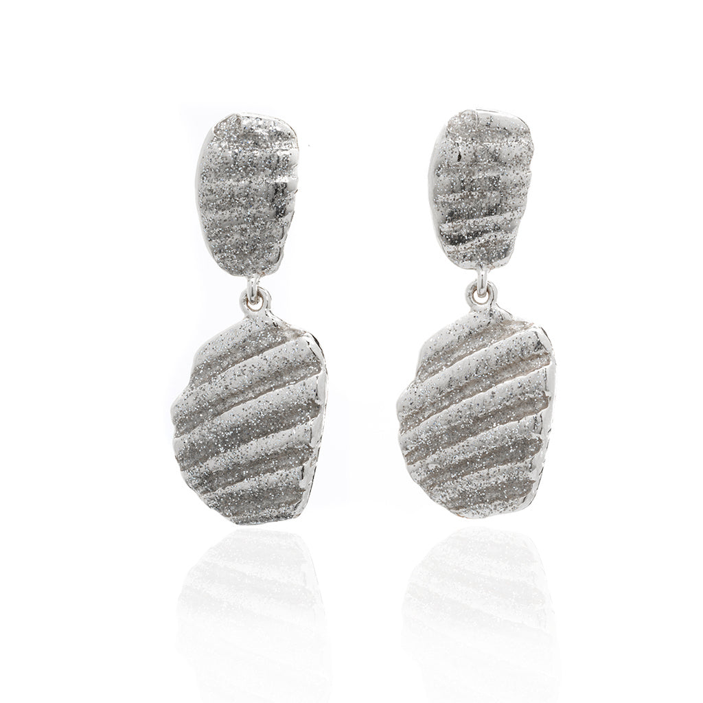 Small Ridged Shell Drop Oval Earring Silver Stardust