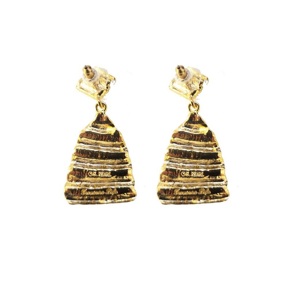 Ridged Shell Drop Triangular Earring Gold Stardust