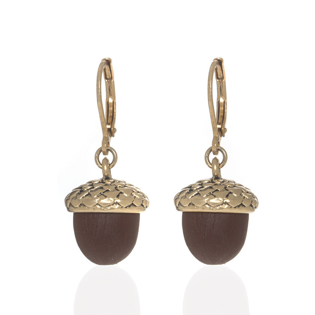 Winter in the Garden Brown Drop Acorn Earrings