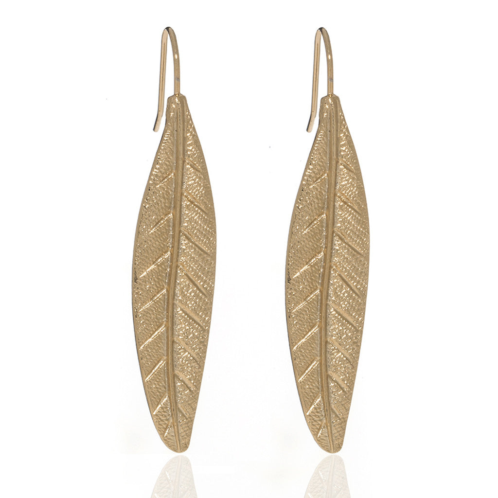 Jeweled Foliage Gold Tone Earrings