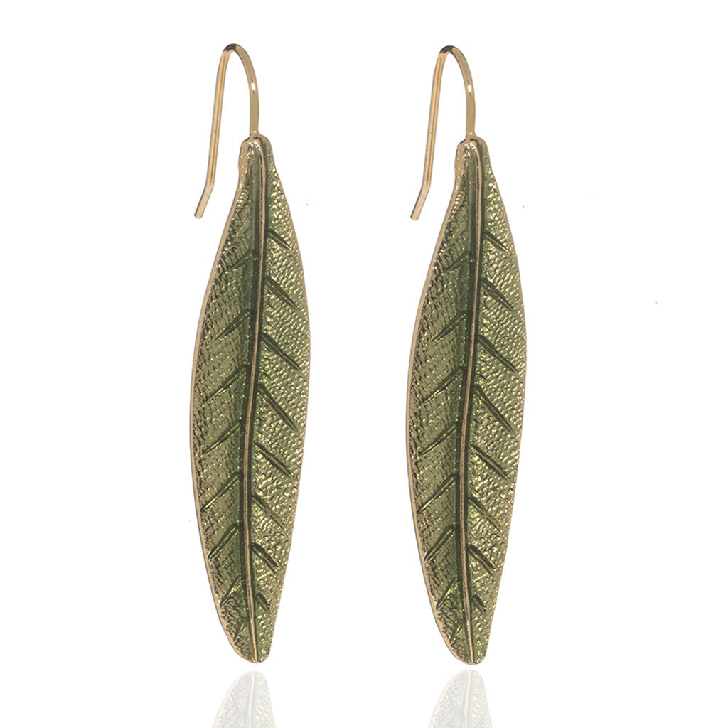 Jeweled Foliage Green Leaf Earrings