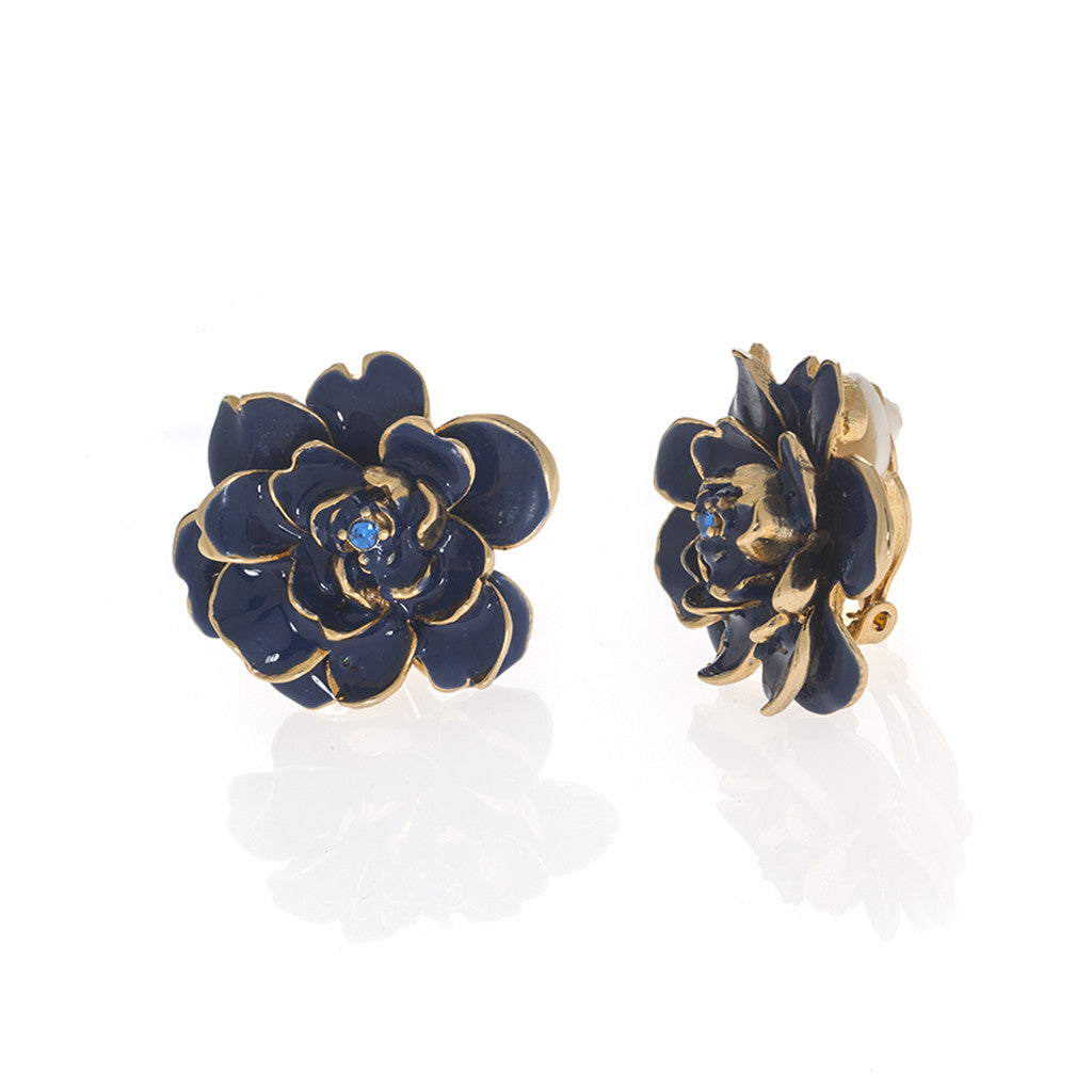Garden Blue Rose Clip Earrings