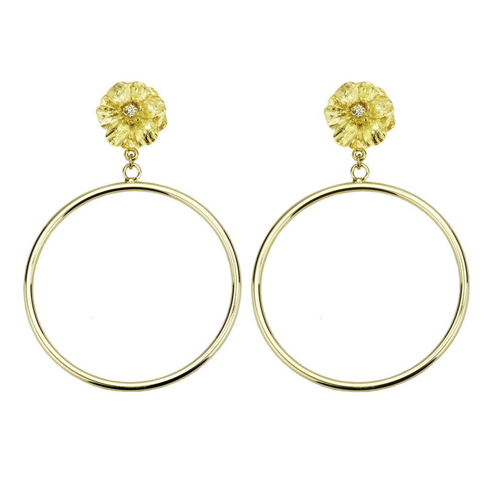 Goldtone Double Rose Large Hoop Earring