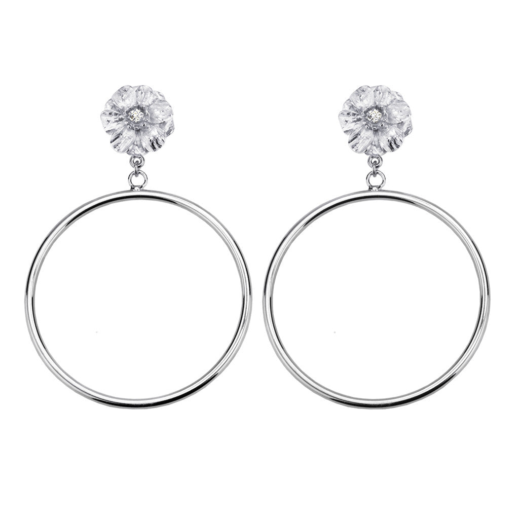 Silvertone Double Rose Large Hoop Earring