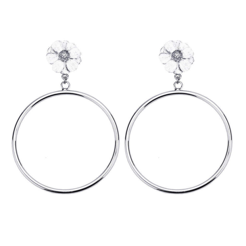 Silvertone Double Rose White Flower Large Hoop Earring