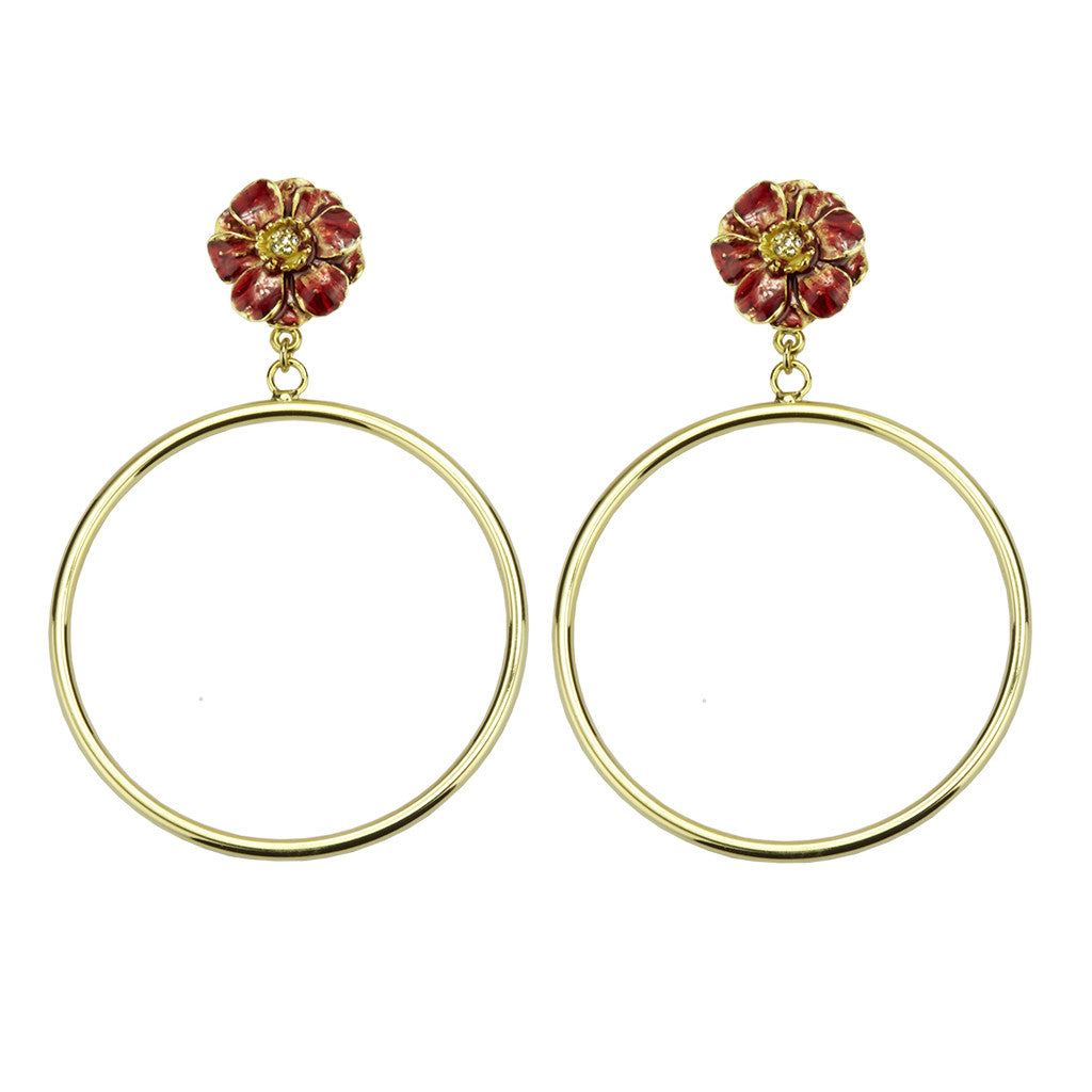 Goldtone Double Rose Red Flower Large Hoop Earrings
