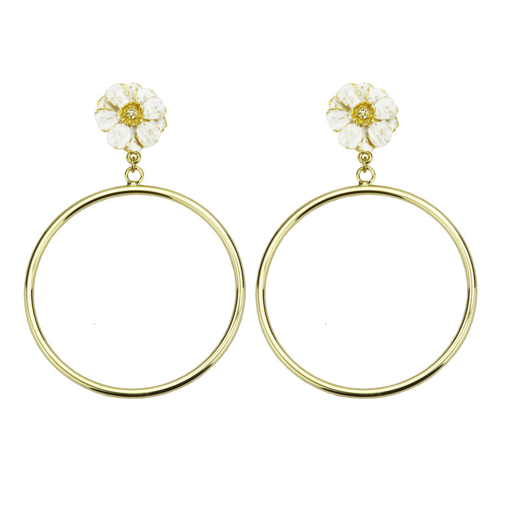 Goldtone Double Rose White Enamel Large Hoop Earrings