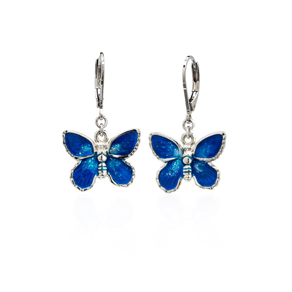Rhodium Plated Blue Butterfly Drop Earring