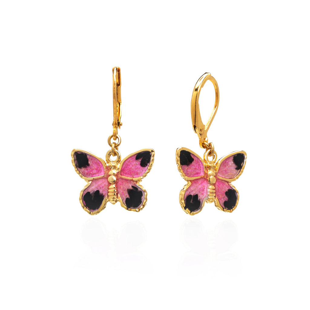 22k Gold-Plated Pink Butterfly Drop Earring