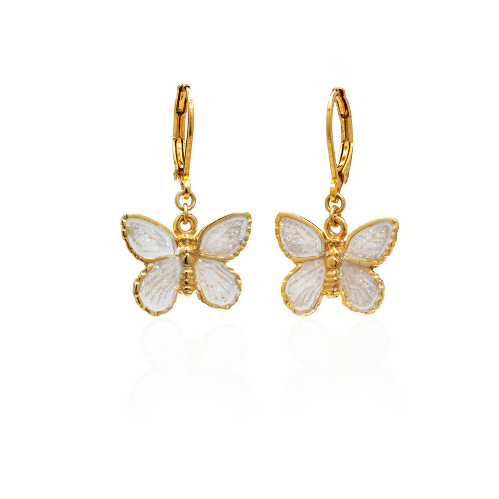 22k Gold-Plated White Butterfly Drop Earring