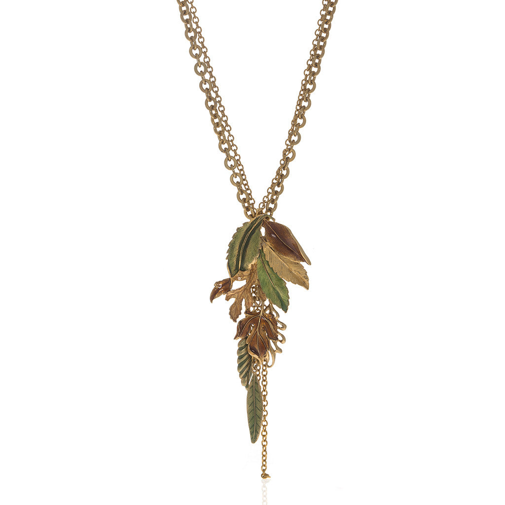 "Jeweled Foliage Multi-color 24"" Necklace"