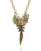 "Jeweled Foliage Multi-color 16"" Necklace"