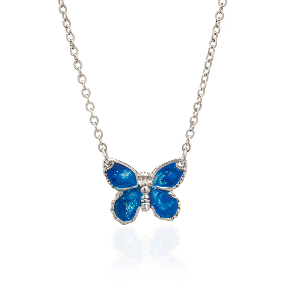 "Rhodium Plated Blue Butterfly Pendant with 18"" Chain Necklace"