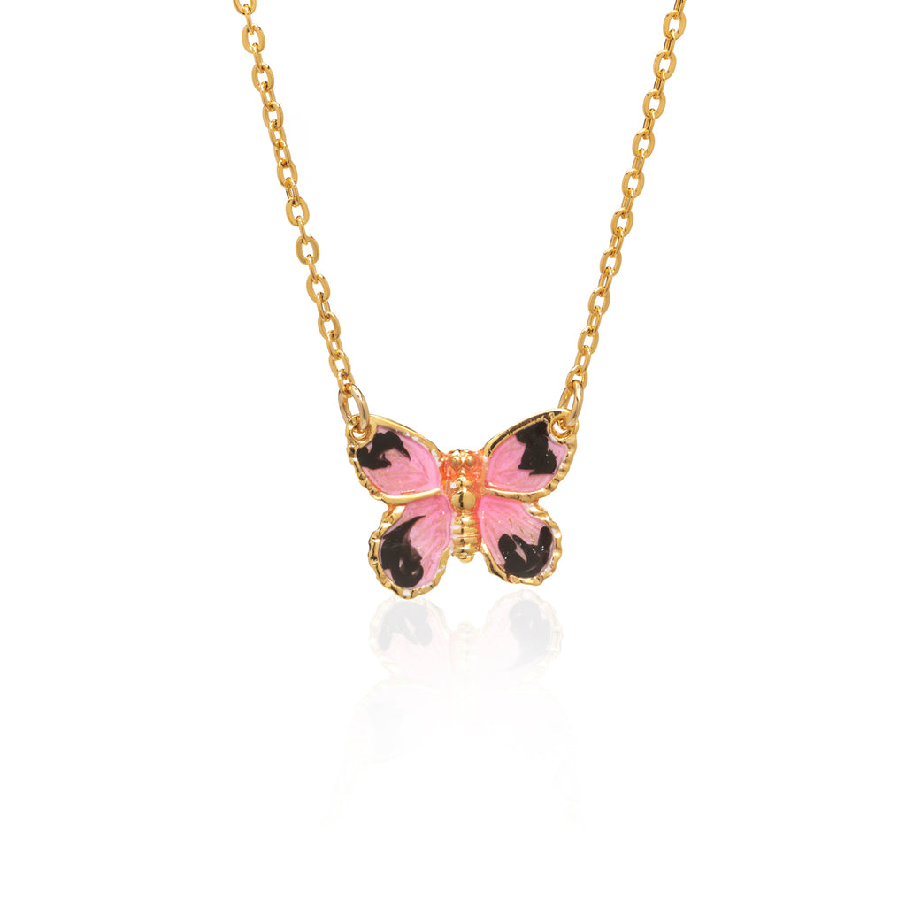 "22k Gold Plated Pink Butterfly Pendant with 18"" Chain Necklace"