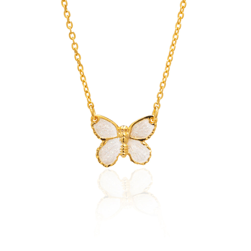 "22k Gold Plated White Butterfly Pendant with 18"" Chain Necklace"