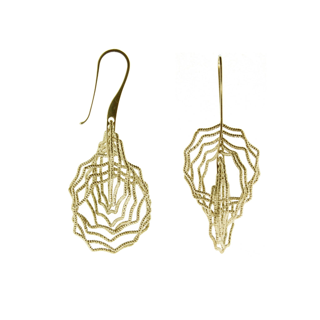 22k Gold Plated Sterling Silver Web Circle Earrings