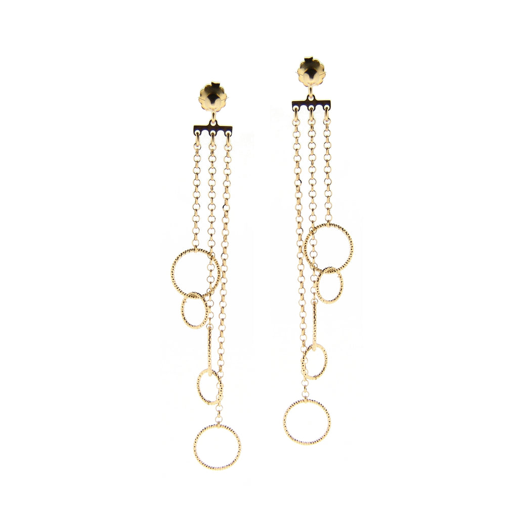 22k Gold Plated Sterling Silver Circle and Chain Drop Earrings