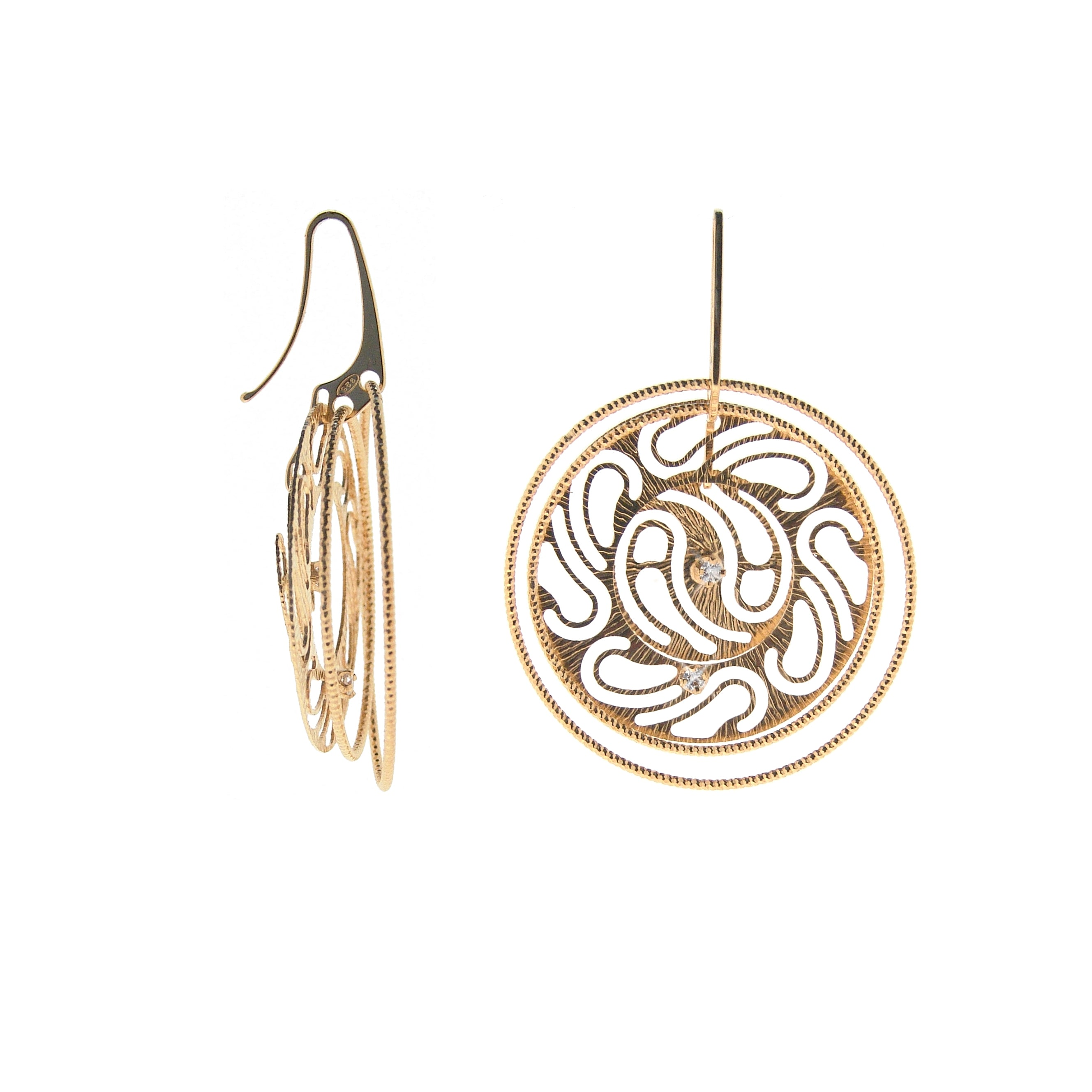 22k Gold Plated Sterling Silver Paisley Circle and Crystal Earrings