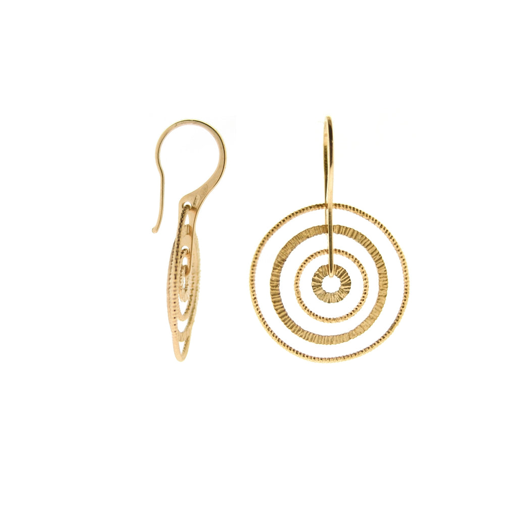 22k Gold Plated Sterling Silver Sand-Diamond Circle Earrings