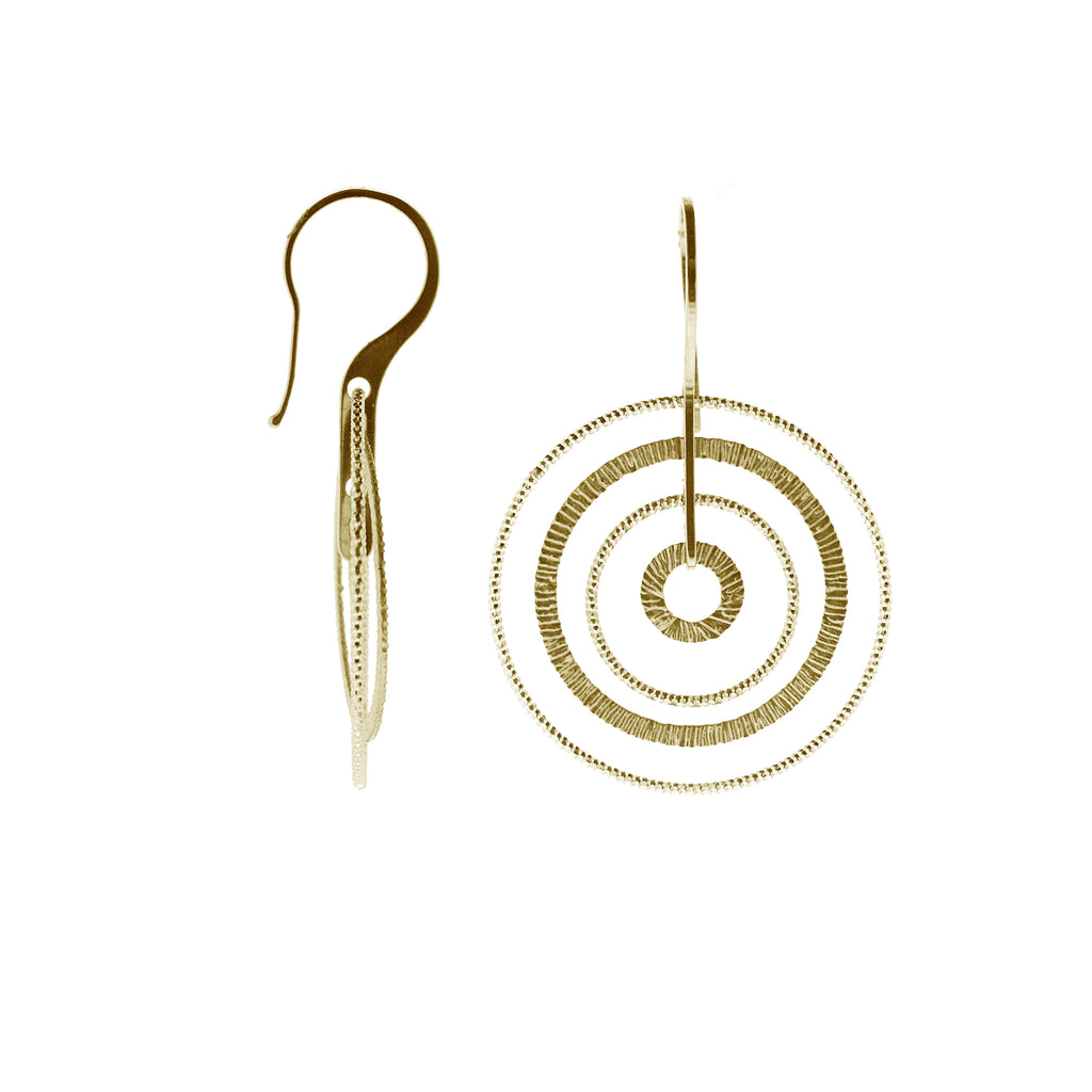 Gold Plated Sterling Silver Sand-Diamond Circle Earrings