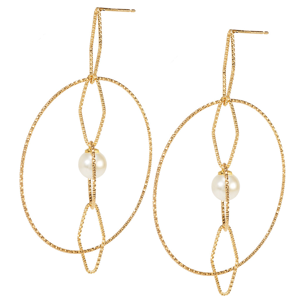 22k Gold plated Sterling Silver Round Drop earrings with Pearl
