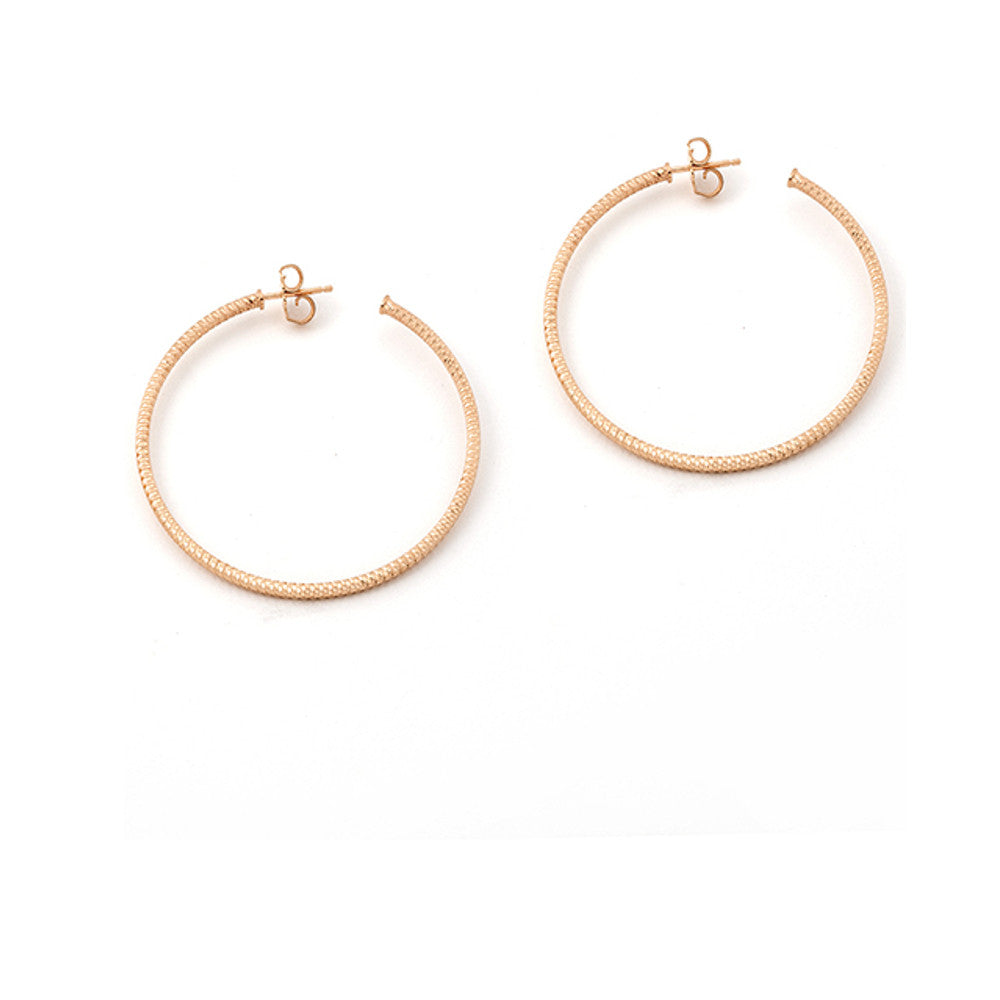 22k Rose Gold Plated .925 Silver Hoop Earrings
