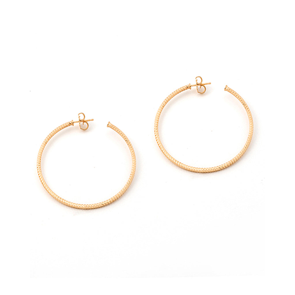 22k Gold Plated Sterling Silver Hoop Earrings