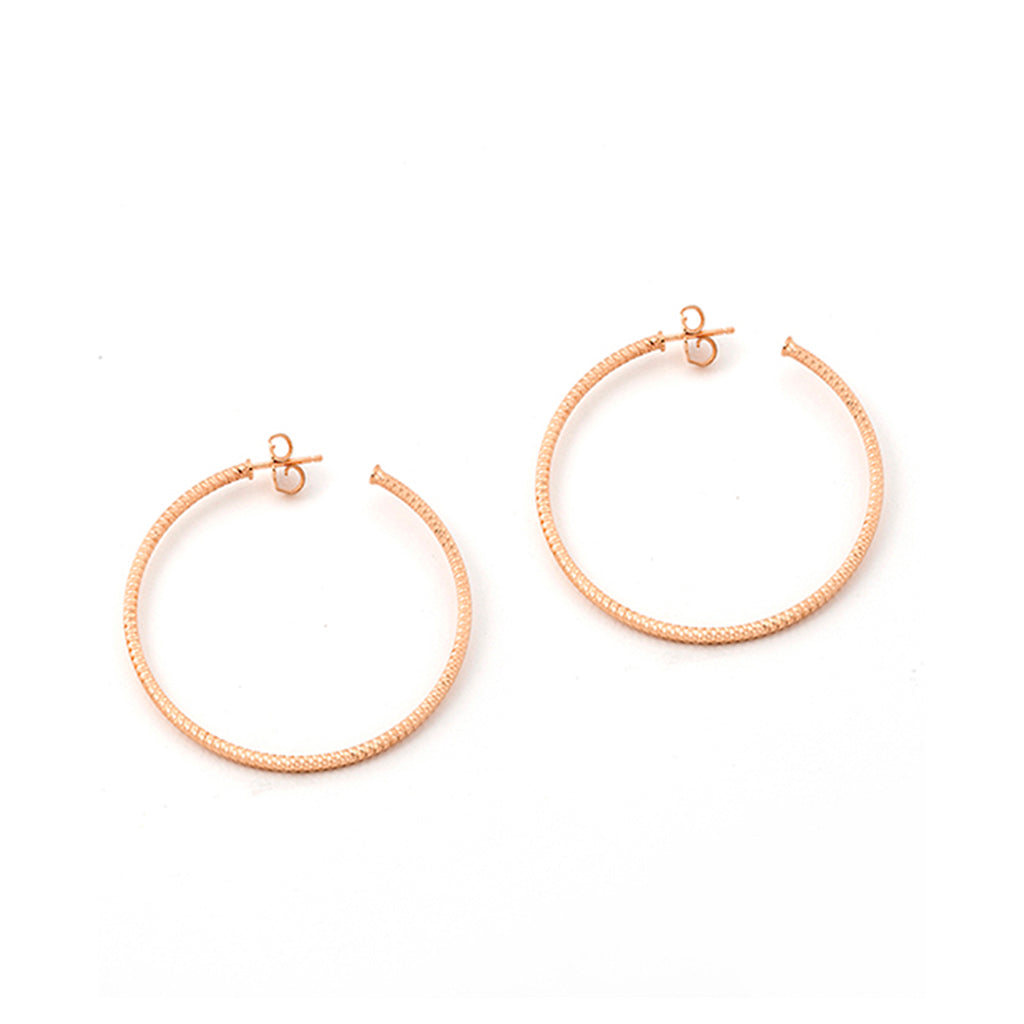 22k Rose Gold Sterling Silver Hoop Earrings
