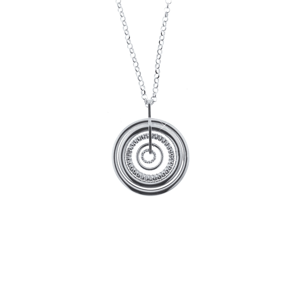 Rhodium Plated Sterling Silver Sand-Diamond Circle Necklace