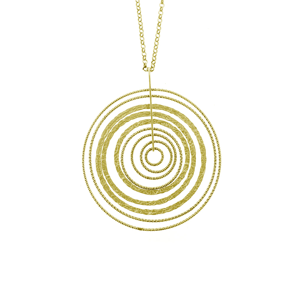 22k Gold Plated Sterling Silver Sand-Diamond Circle Necklace