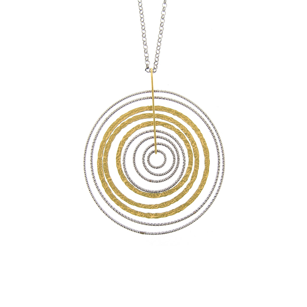 Two Tone Sterling Silver Sand-Diamond Circle Necklace