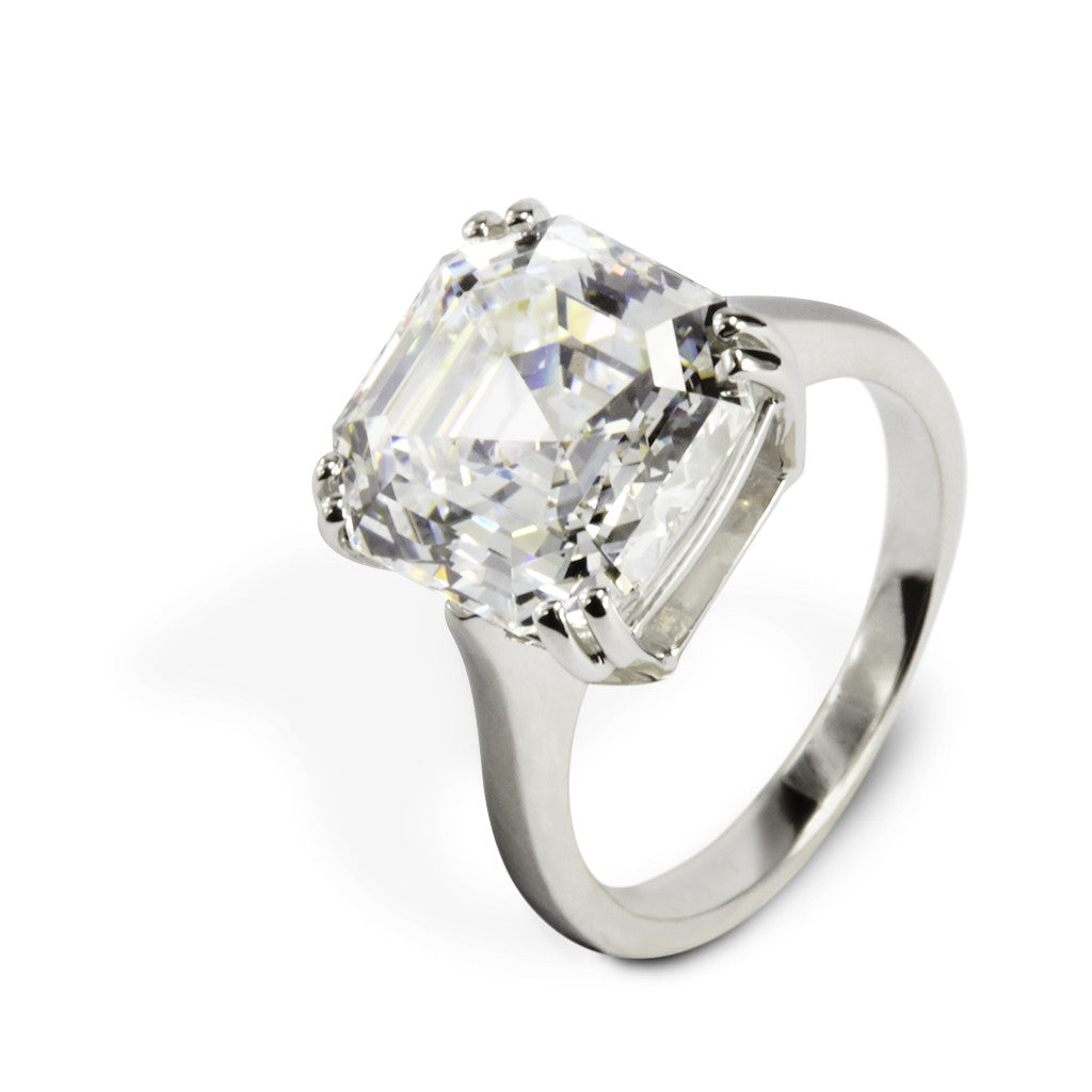 9.0 CT 14k White Gold Asscher Cut