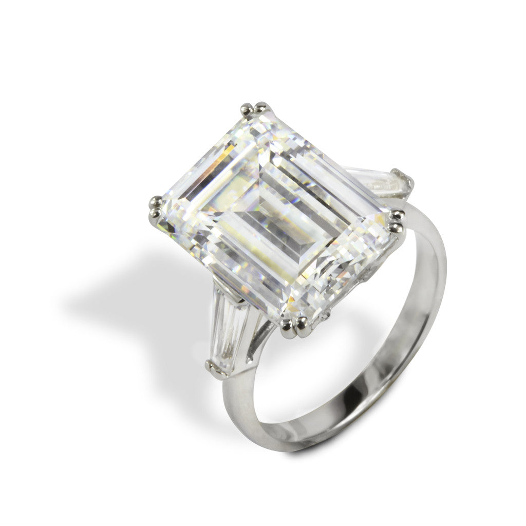 14k White Gold CZ Emerald Cut 9.70 CT