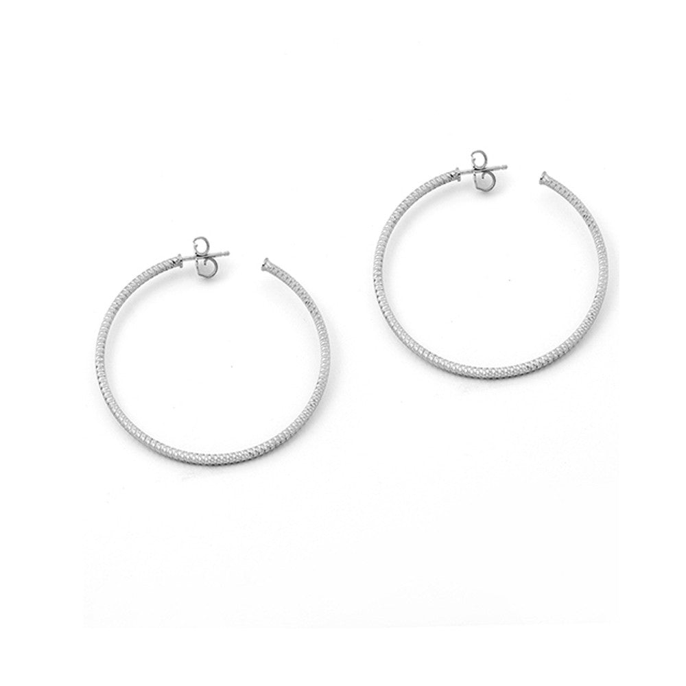 .925 Silver Hoop Earrings- Large