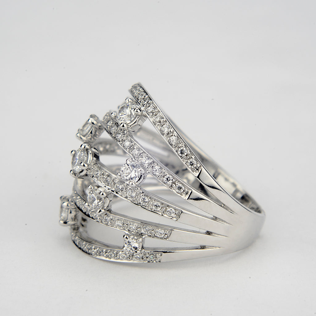 6.40 CT 14K White Gold 5 Band Cocktail Ring.