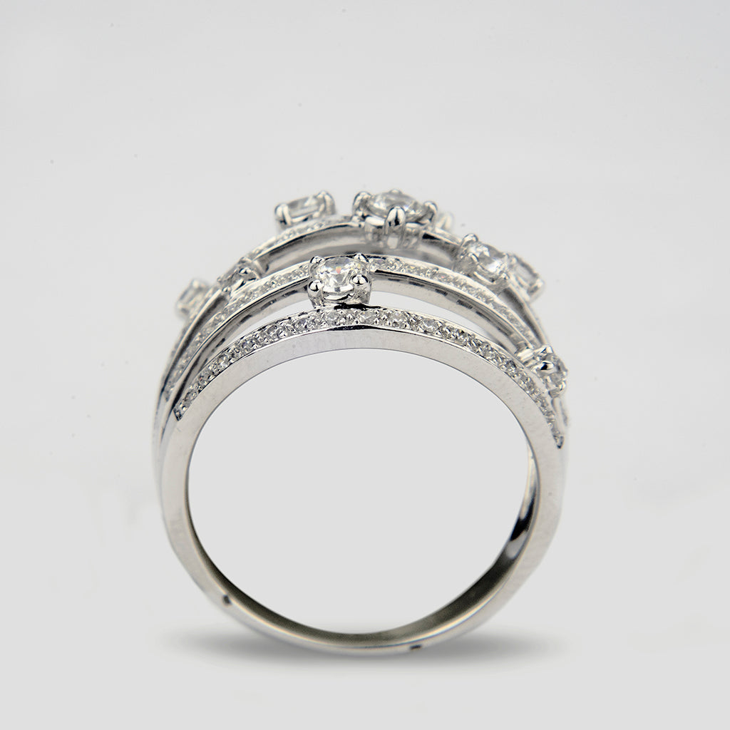 640 CT 14K White Gold 5 Band Cocktail Ring Erwin Pearl