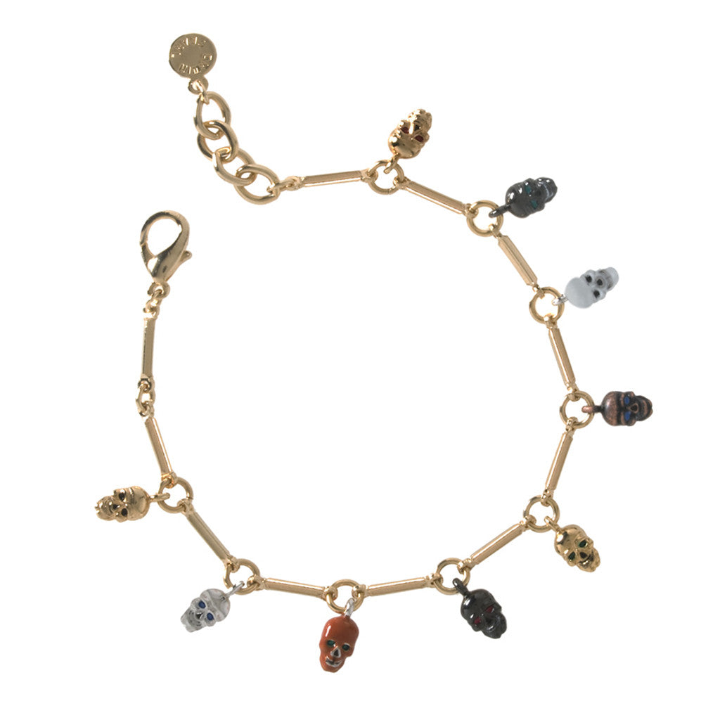 Goldtone Multi Color Drop Skull Bracelet
